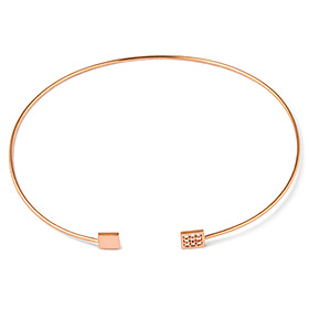 14K Flat Cube Bangle Bracelet