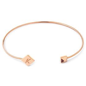 14K / 18K Rhombus Initial Bangle Bracelet