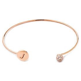 14k / 18k Bling Circle Initial Bangle Bracelet