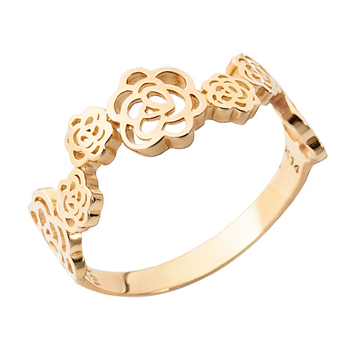 14K / 18K rose flower garden ring