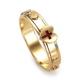 14K / 18K R215 Rotating Rosary Ring