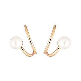14K double ring pearl earring [swarovski]