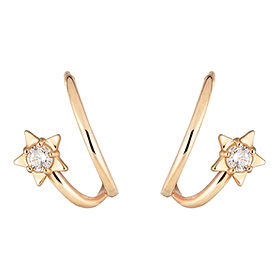 14K double ring star earring