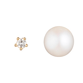 14K Pearl and Cubic earring [overnightdelivery]