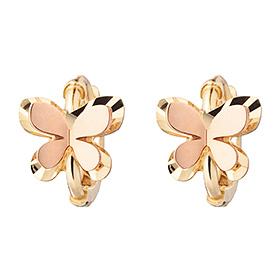 14K / 18K flap butterfly earring (overnightdelivery) + shopping bag gift