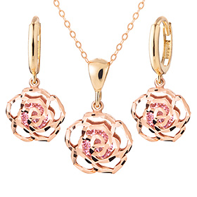 14K / 18K Wild Rose Pink set [Necklace + earring]
