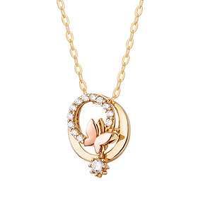 14k / 18k Circle Butterfly Necklace