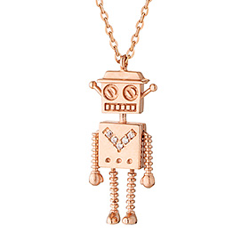 14k / 18k Smile Robot Long Necklace