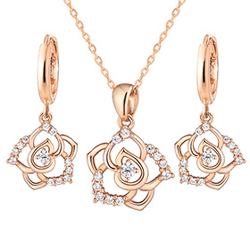 14K / 18K Royal Rose set [Necklace + earring]