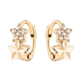 14K / 18K two-star earring / earrings [overnight delivery]