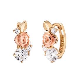 14K / 18K Bird Rose earring / earrings