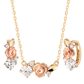 14K / 18K Bird Rose set [Necklace + earring]