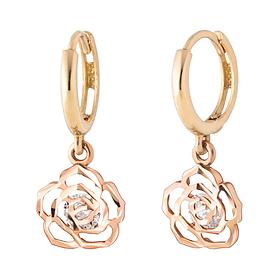 14K / 18K mirror rose earring [overnightdelivery]
