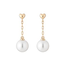 14K Heart long pearl earring [overnightdelivery] [swarovski]