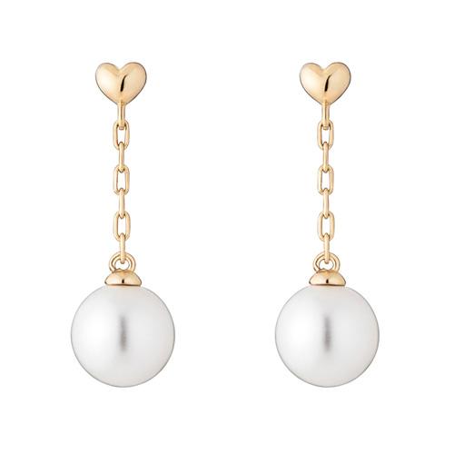 14K Heart long pearl earring [overnightdelivery] [Swarovski Stone]