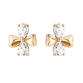 14K double ribbon earring