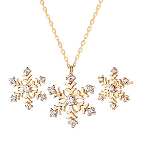 14K Snow flower set [Necklace + earring]