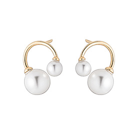 14K double pearl earring [swarovski]