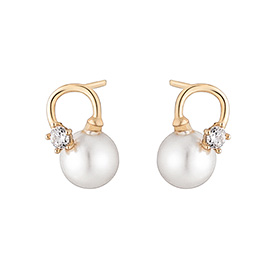 14K Noble pearl earring [Swarovski Stone]