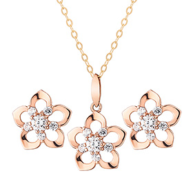 14K Rosemary set [Necklace + earring]