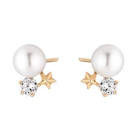 14K Starlight Pearl Earring [Swarovski Stone]