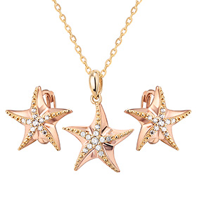14K / 18K STARIA one touch set [Necklace + one-touch earrings]