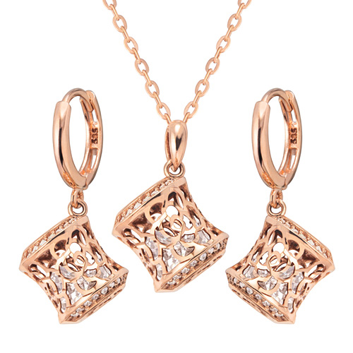 14K / 18K Rose Castle set [Necklace + earring]