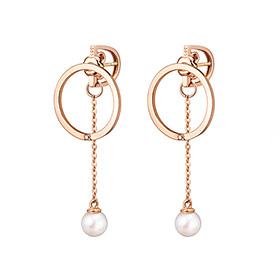 14K / 18K circle freshwater pearl change earring