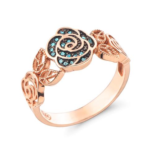 14K / 18K antique rose blue diamond ring