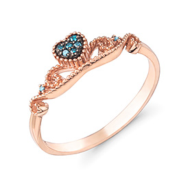 14K / 18K love neti blue diamond ring