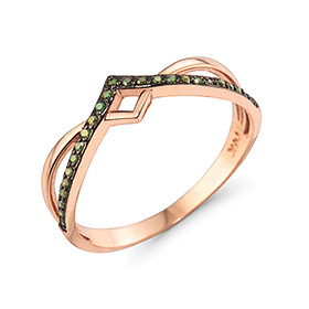 14K / 18K crossover green diamond ring
