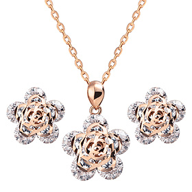 14K / 18K Rose River set [Necklace + earring]