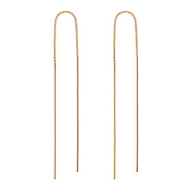 14K simple long earrings
