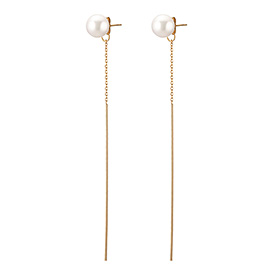 14K Pearl Rails Long Earrings