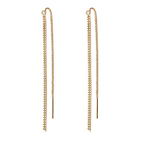 14K square long earrings