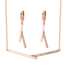 14K / 18K V cross set [Necklace + earring]