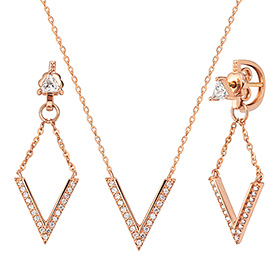 14K / 18K V angle set [Necklace + earring]
