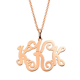 14k / 18k Monogram 3letter Initial Long Necklace (large)