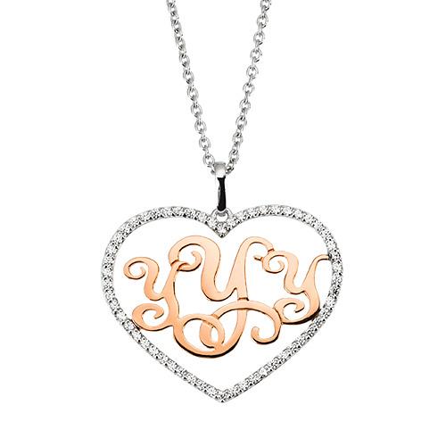 14k / 18k Cubic Heart Monogram Initials Long Necklace