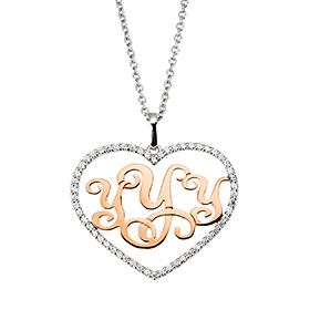 14k / 18k Cubic Heart Monogram Initials Long Necklace