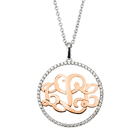 14k / 18k Cubic Round Monogram Initials Necklace