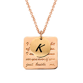 14k / 18k Square In Coin Initial Long Necklace