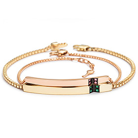 14k / 18k V foot diamond couple bracelet [men, women pair price]