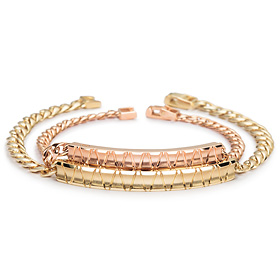 14k / 18k slant diamond couple bracelet [men, women pair price]