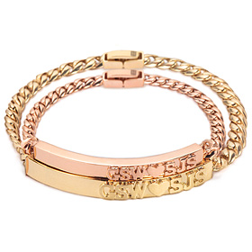 14k / 18k stamping diamond couple bracelet [men, women pair price]