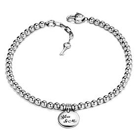 Silver Bead Marble Initial Bracelet