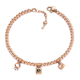 14k / 18k Triple Charm Initial Bracelet
