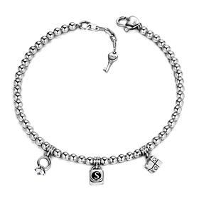 Silver Triple Charm Initial Bracelet