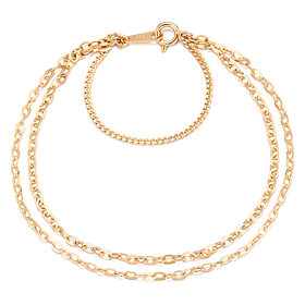 14k / 18k simple links (large) two lines bracelet