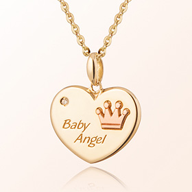Heart Coin Crown Prevention Gold Necklace